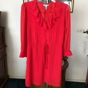 H & M Womens Red Ruffles & Front Tie Dress Size 8